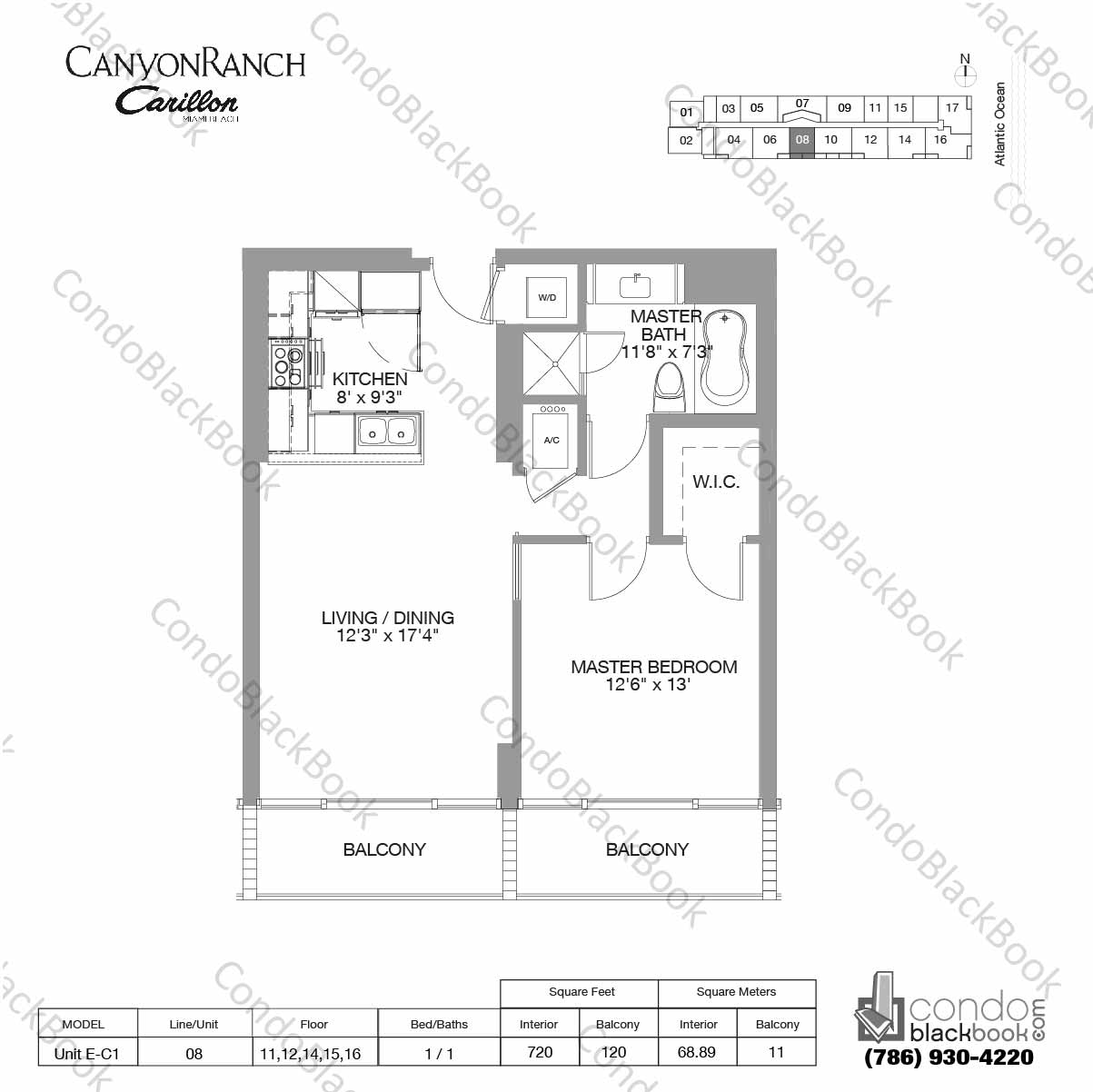 Floor plan for Carillon Miami Resort & Condo North Beach Miami Beach, model Unit E-C1, line 08, 1 / 1 bedrooms, 720 sq ft