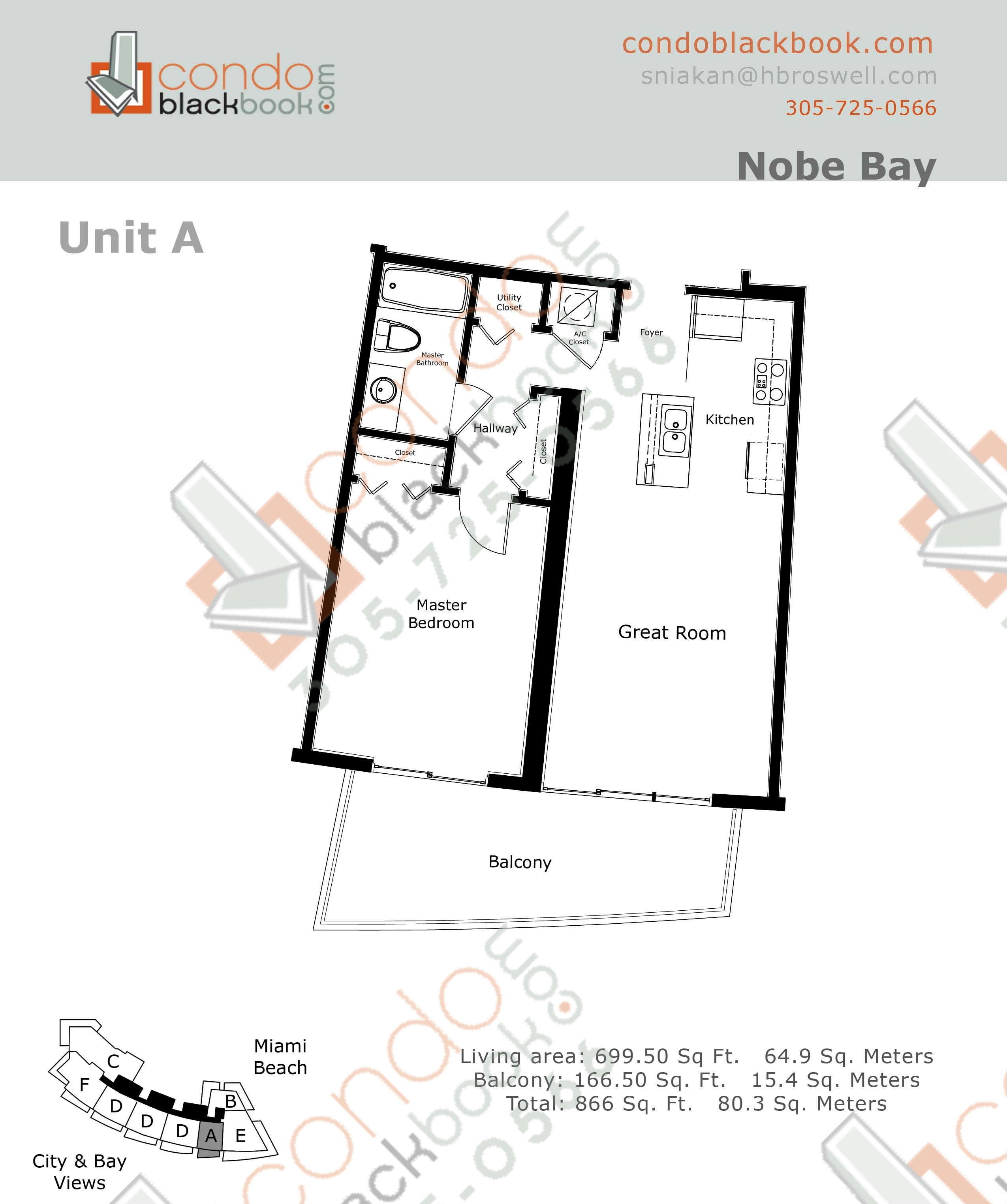 Floor plan for Eden House North Beach Miami Beach, model A, line 01, 1/1 bedrooms, 700 sq ft