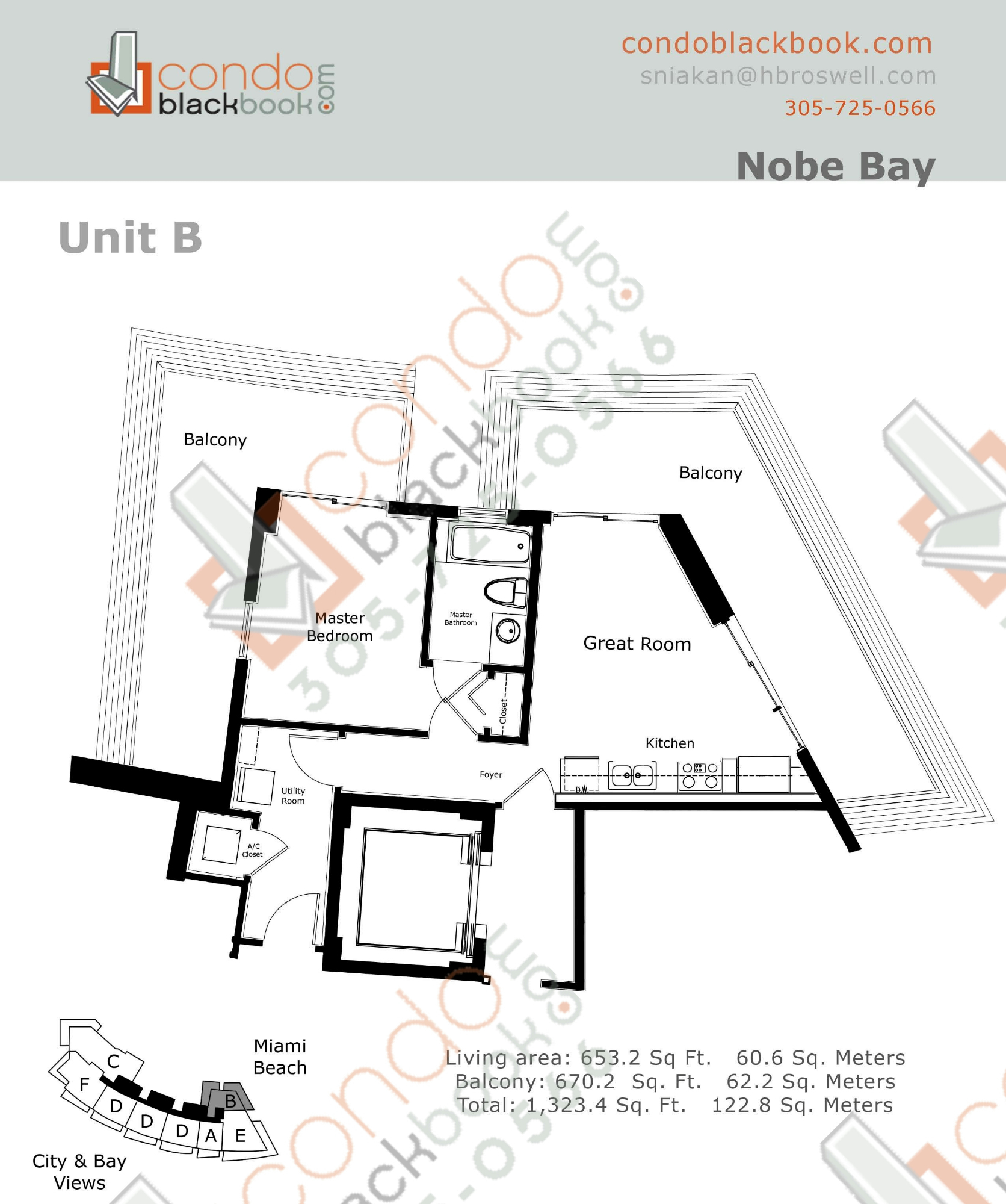 Floor plan for Eden House North Beach Miami Beach, model B, line 02, 1/1 bedrooms, 653 sq ft