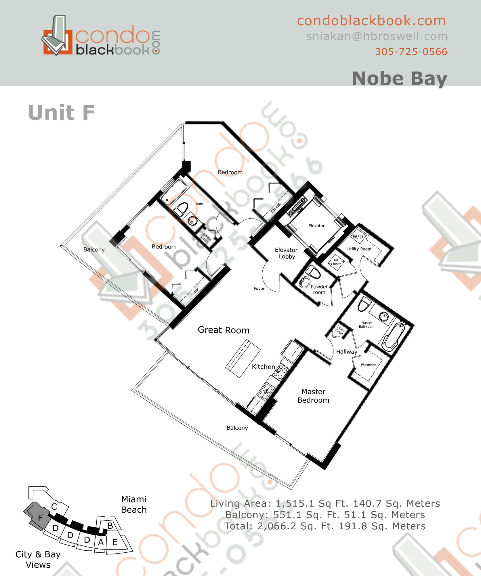 Floor plan for Eden House North Beach Miami Beach, model F, line 06, 3/2.5 bedrooms, 1,515 sq ft