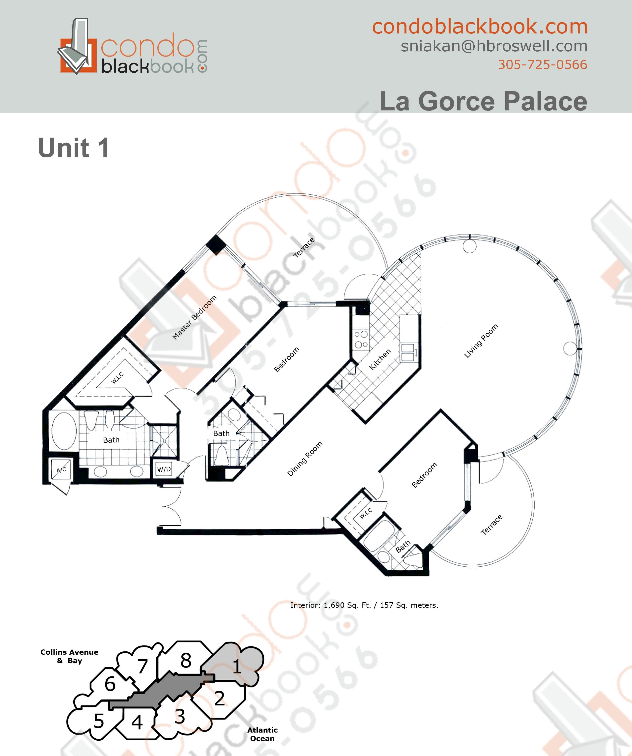 Floor plan for La Gorce North Beach Miami Beach, model 01, line 01, 3/3 bedrooms, 1690 sq ft