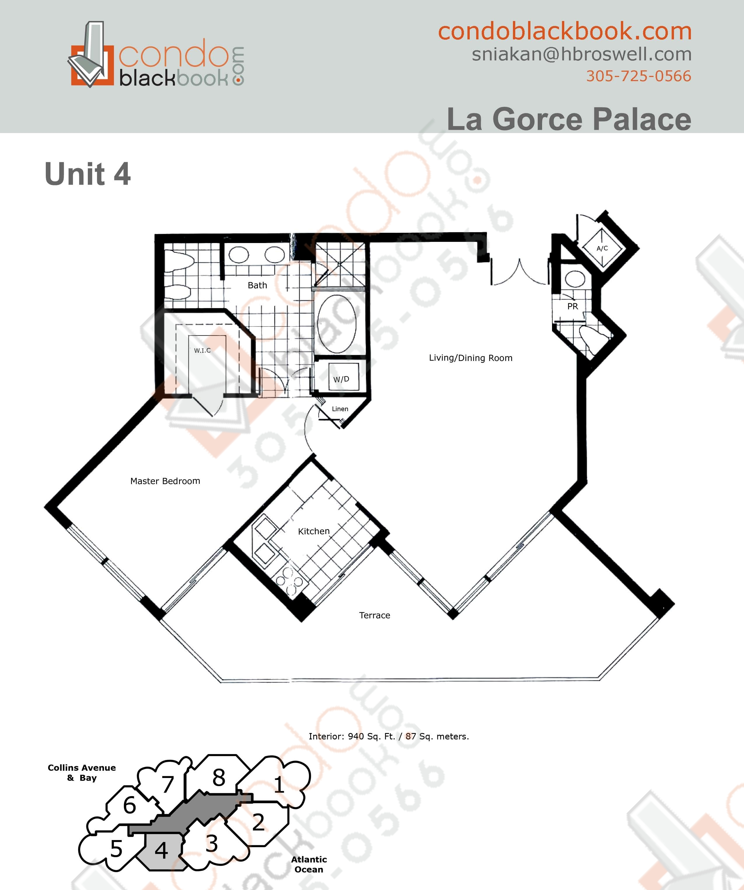 Floor plan for La Gorce North Beach Miami Beach, model 04, line 04, 1/1.5 bedrooms, 940 sq ft