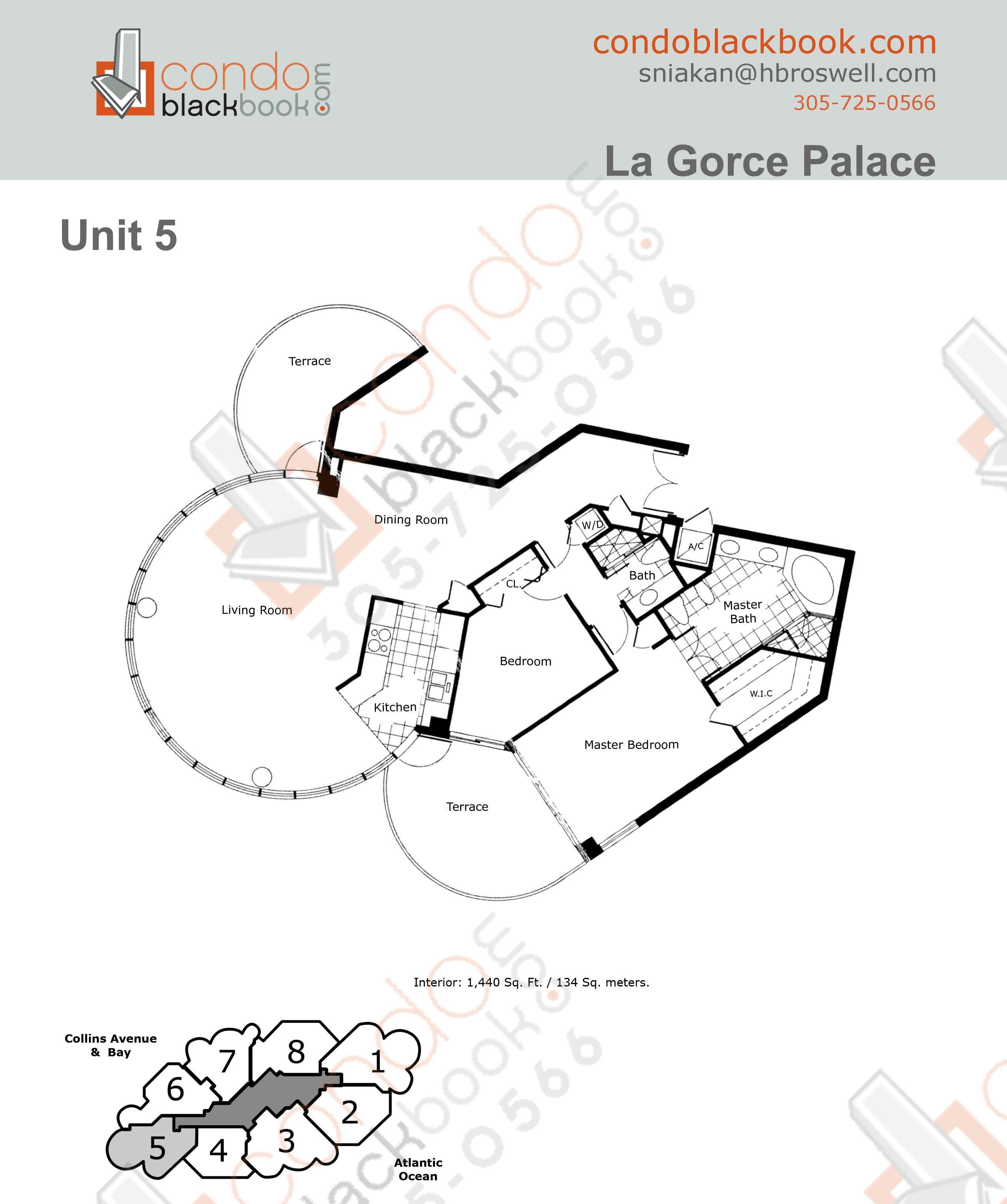 Floor plan for La Gorce North Beach Miami Beach, model 05, line 05, 2/2 bedrooms, 1440 sq ft
