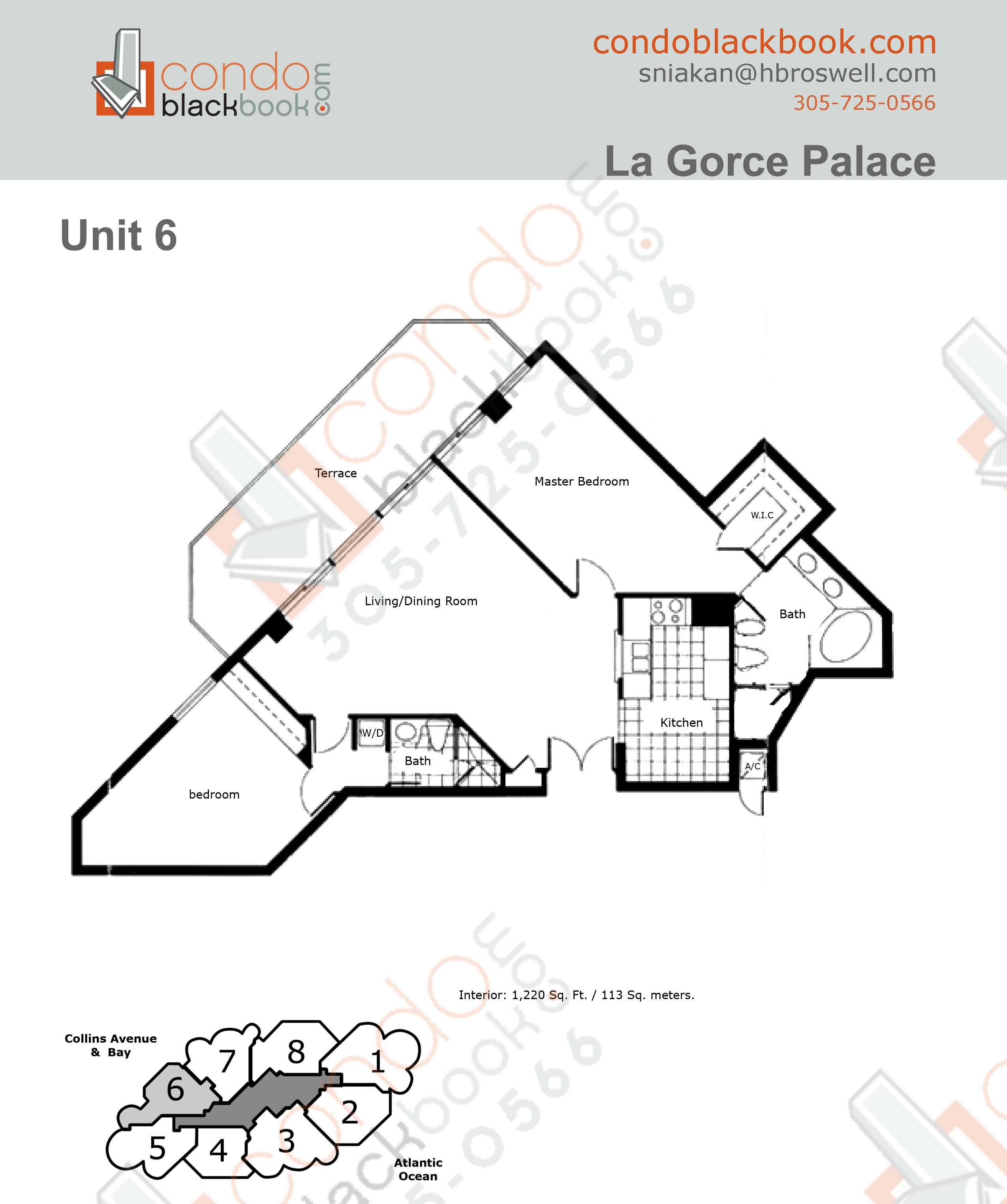 Floor plan for La Gorce North Beach Miami Beach, model 06, line 06, 2/2 bedrooms, 1220 sq ft