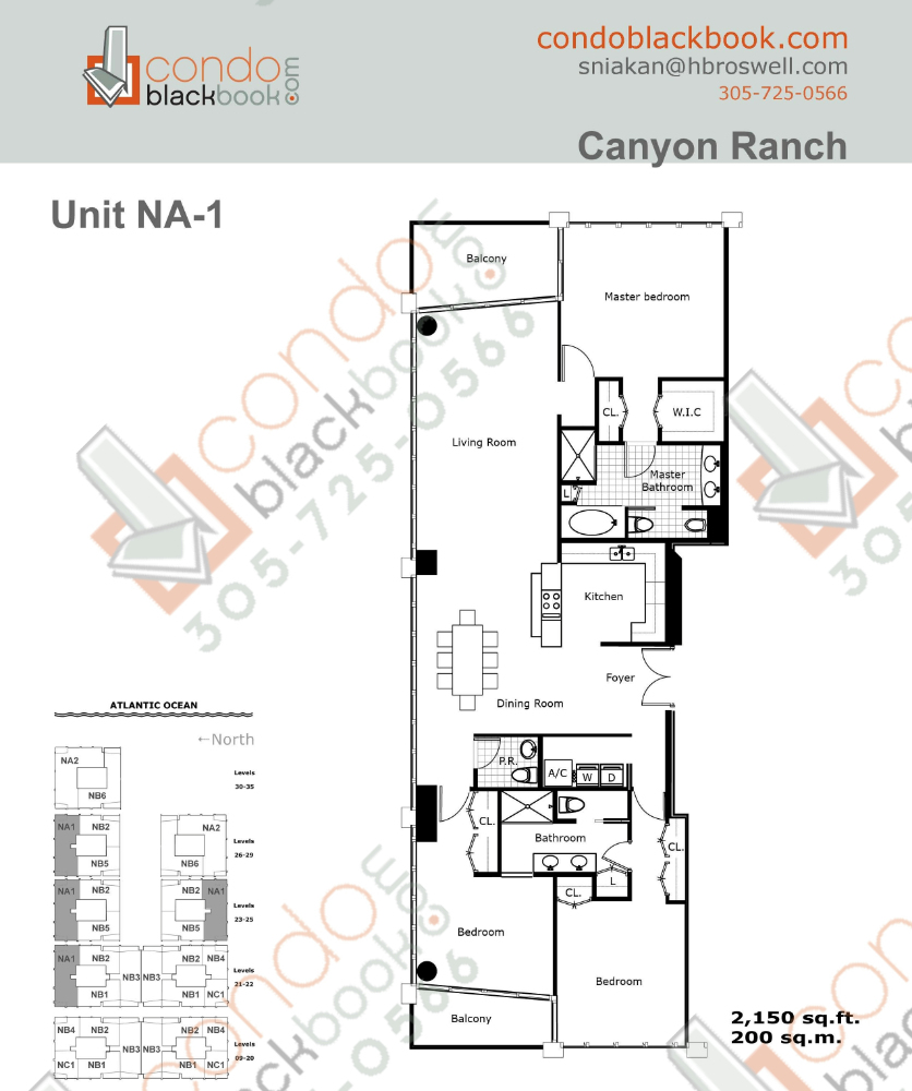 Floor plan for Carillon Condo South Tower North Beach Miami Beach, model NA1, line 04, 08, 3/2.5 bedrooms, 2,150 sq ft
