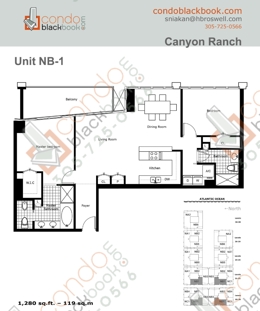 Floor plan for Carillon Condo South Tower North Beach Miami Beach, model NB1, line 03,10, 2/2 bedrooms, 1,280 sq ft