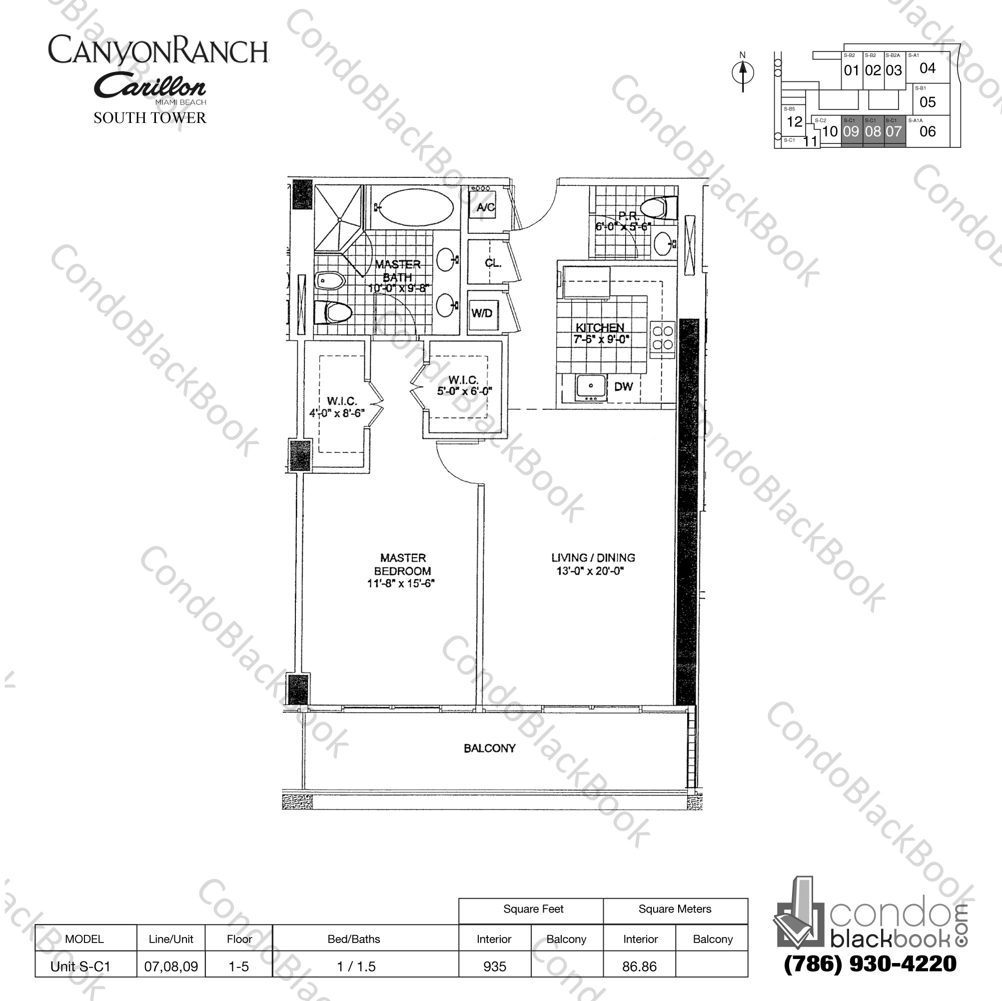 Floor plan for Carillon Condo South Tower North Beach Miami Beach, model Unit S-C1, line 07,08,09, 1 / 1.5 bedrooms, 935 sq ft