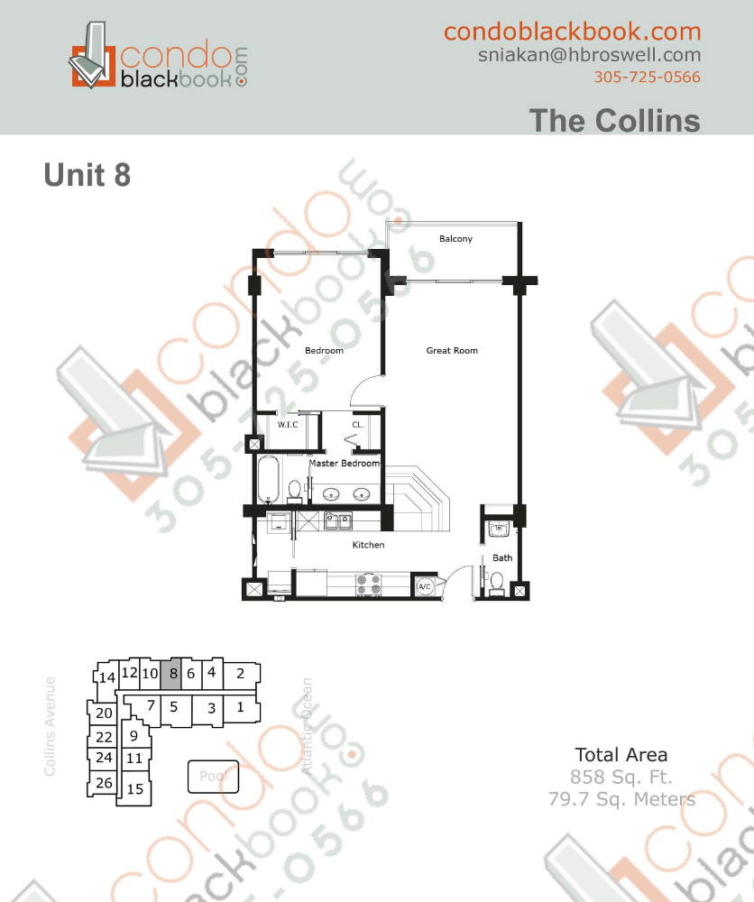 Floor plan for The Collins North Beach Miami Beach, model 08, line 08, 1/1.5 bedrooms, 858 sq ft