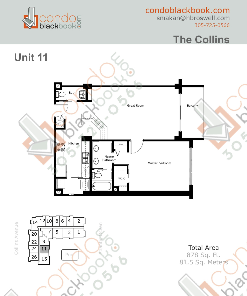 Floor plan for The Collins North Beach Miami Beach, model 11, line 11, 1/1.5 bedrooms, 878 sq ft