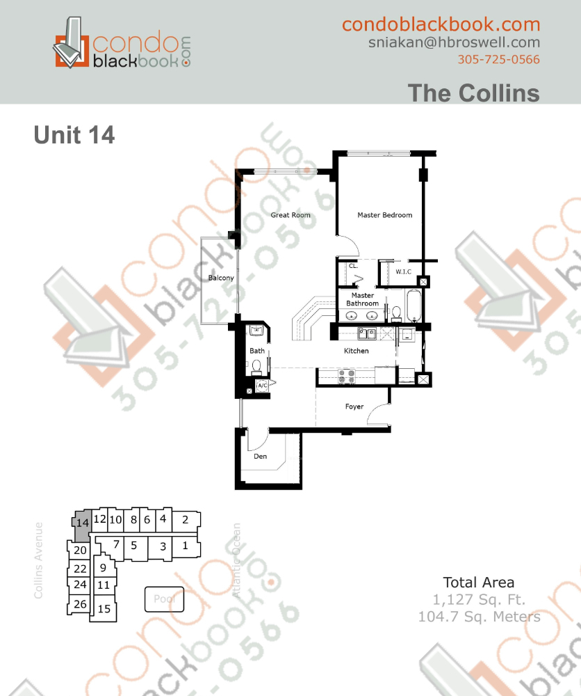Floor plan for The Collins North Beach Miami Beach, model 14, line 14, 1/1.5 bedrooms, 1,127 sq ft