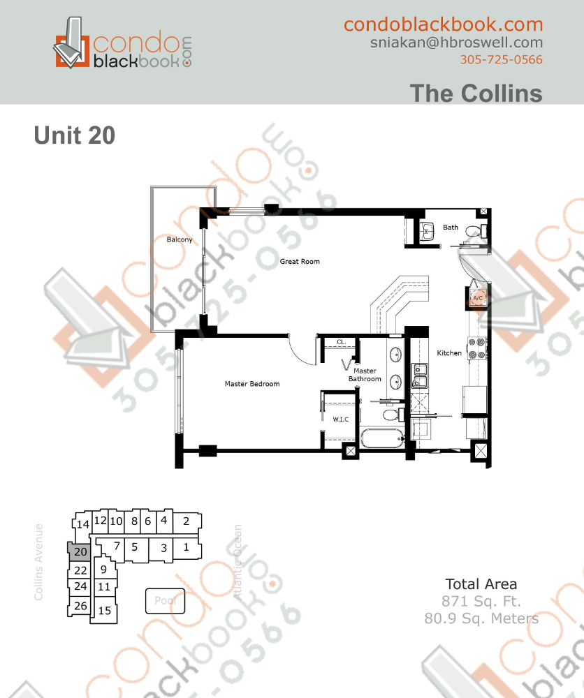 Floor plan for The Collins North Beach Miami Beach, model 20, line 20, 1/1.5 bedrooms, 871 sq ft