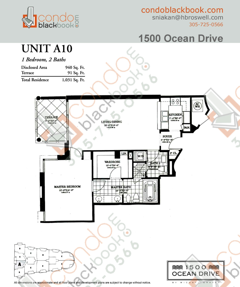 Floor plan for 1500 Ocean Drive South Beach Miami Beach, model A10, line 10, 1/2 bedrooms, 940 sq ft