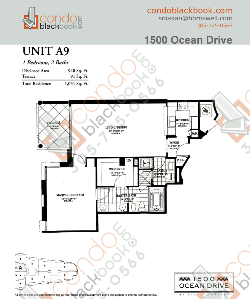 Floor plan for 1500 Ocean Drive South Beach Miami Beach, model A9, line 09, 1/2 bedrooms, 940 sq ft