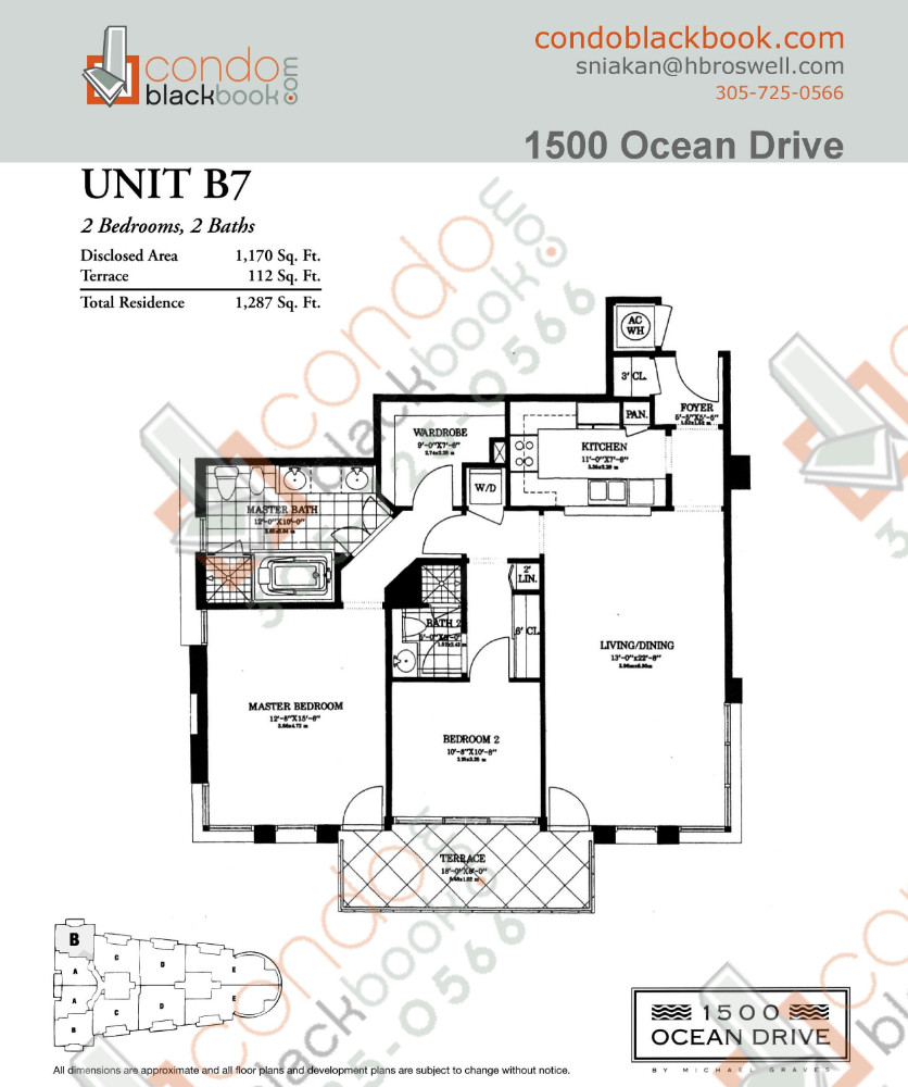 Floor plan for 1500 Ocean Drive South Beach Miami Beach, model B7, line 07, 2/2 bedrooms, 1,170 sq ft