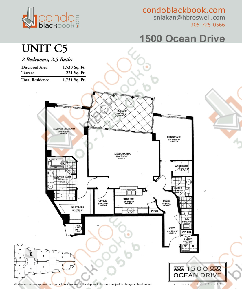 Floor plan for 1500 Ocean Drive South Beach Miami Beach, model C5, line 05, 2/2.5 bedrooms, 1,530 sq ft