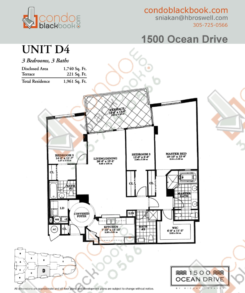 Floor plan for 1500 Ocean Drive South Beach Miami Beach, model D4, line 04, 3/3 bedrooms, 1,740 sq ft