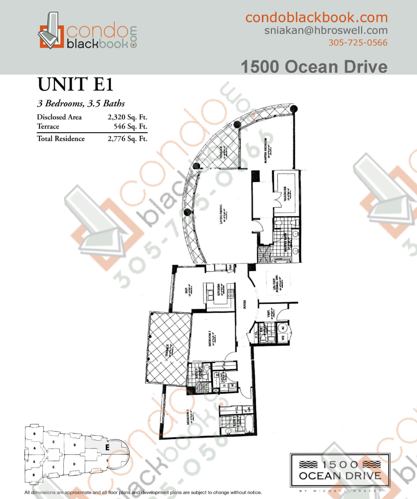Floor plan for 1500 Ocean Drive South Beach Miami Beach, model E1, line 01, 3/3.5 bedrooms, 2,230 sq ft