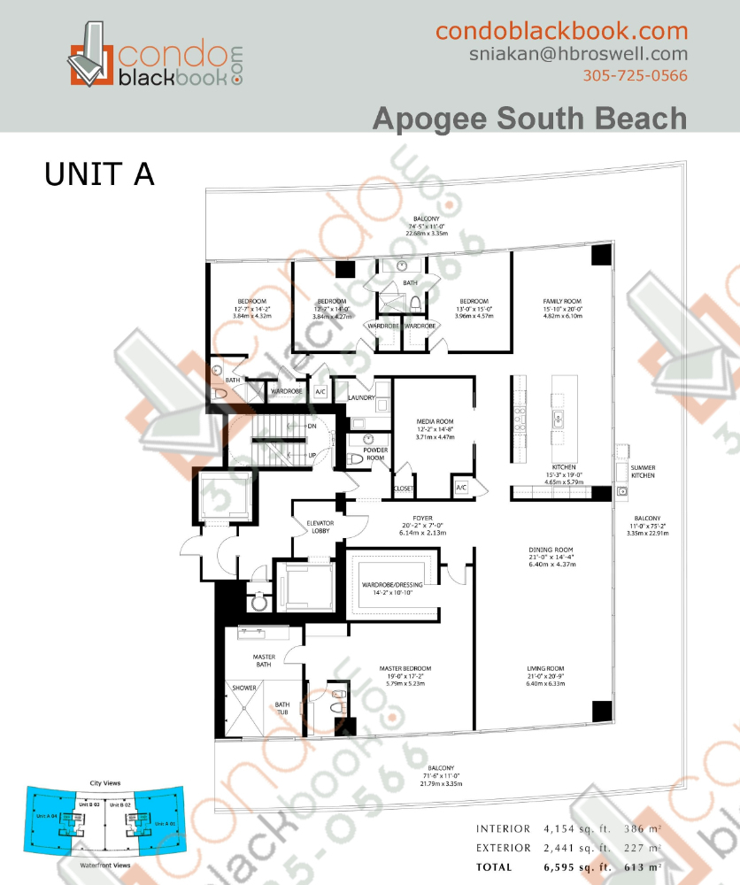 Floor plan for Apogee South Beach Miami Beach, model A, line 01,04, 5/3.5+ 2441(227)Terrace bedrooms, 4154 sq ft
