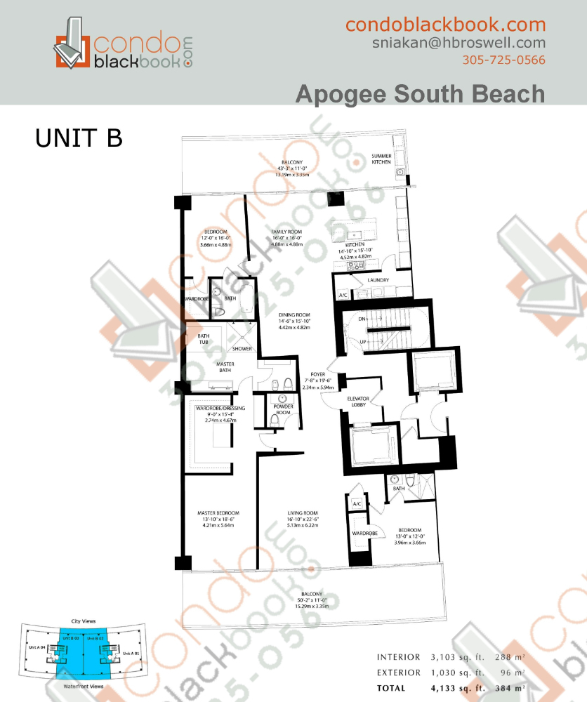 Floor plan for Apogee South Beach Miami Beach, model B, line 02,03, 3/3.5 + 1030 (96) Terrace bedrooms, 3103 sq ft