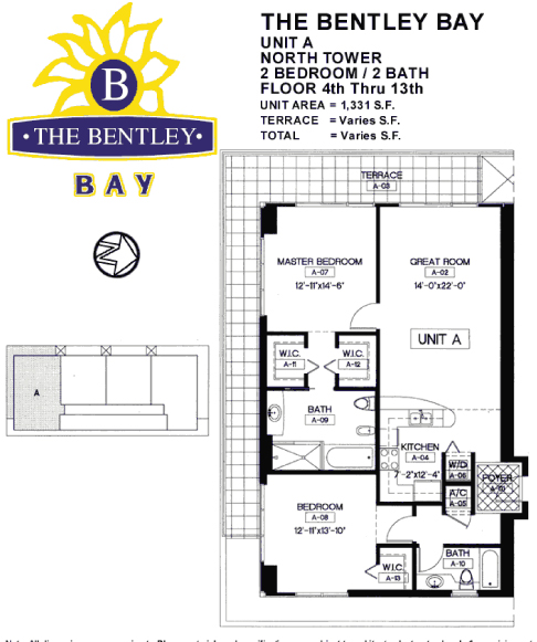 Floor plan for Bentley Bay South Beach Miami Beach, model A, line 04, 2/2 bedrooms, 1331 sq ft