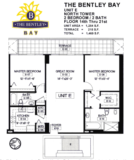 Floor plan for Bentley Bay South Beach Miami Beach, model E, line 14, 2/2 bedrooms, 1254 sq ft