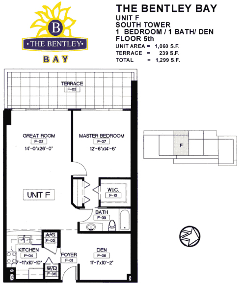 Floor plan for Bentley Bay South Beach Miami Beach, model F, line South Tower, Line 05, 1/1 +Den bedrooms, 1060 sq ft