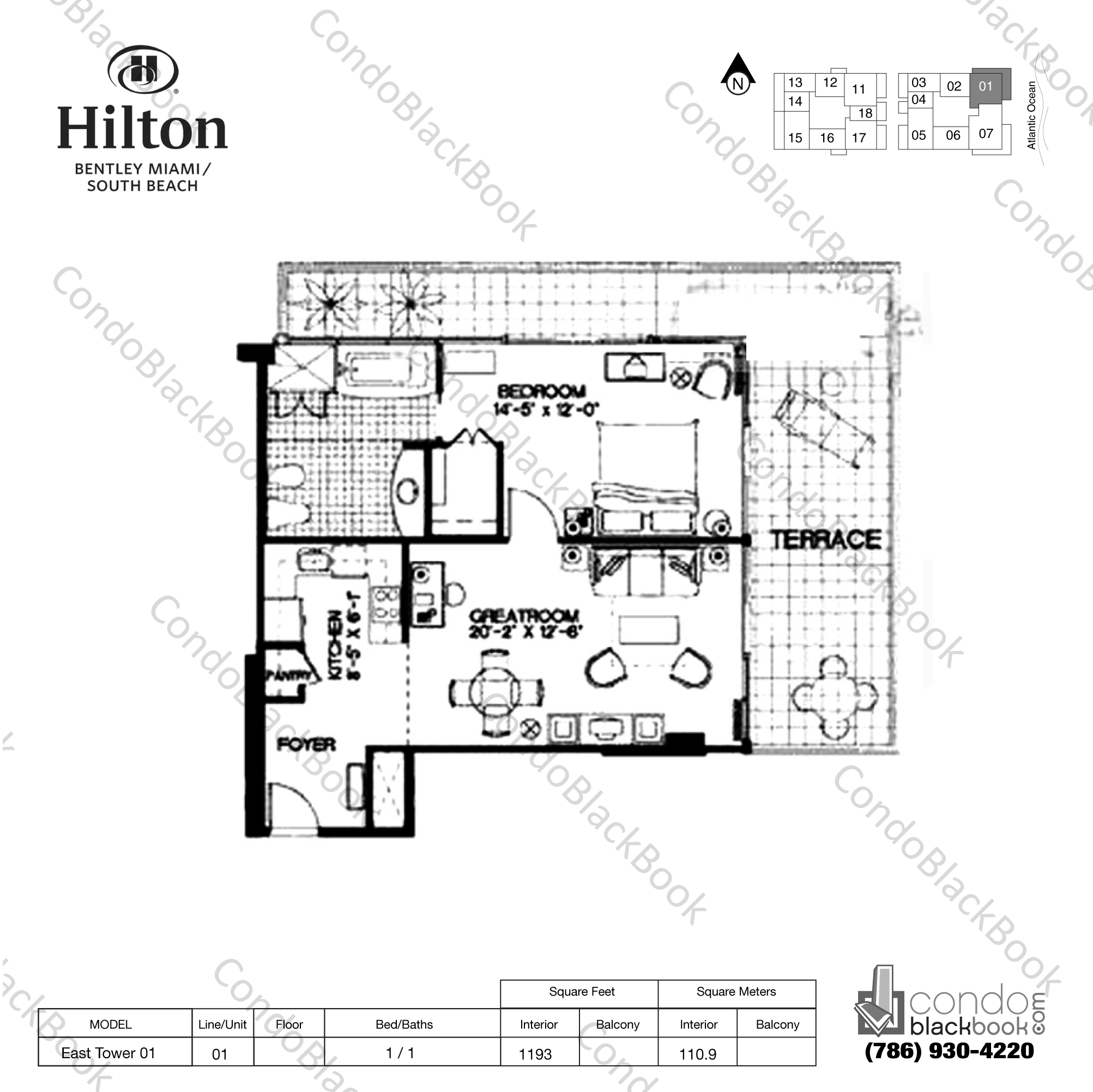Floor plan for Bentley Beach Hilton South Beach Miami Beach, model East Tower 01, line 01, 1 / 1 bedrooms, 1193 sq ft