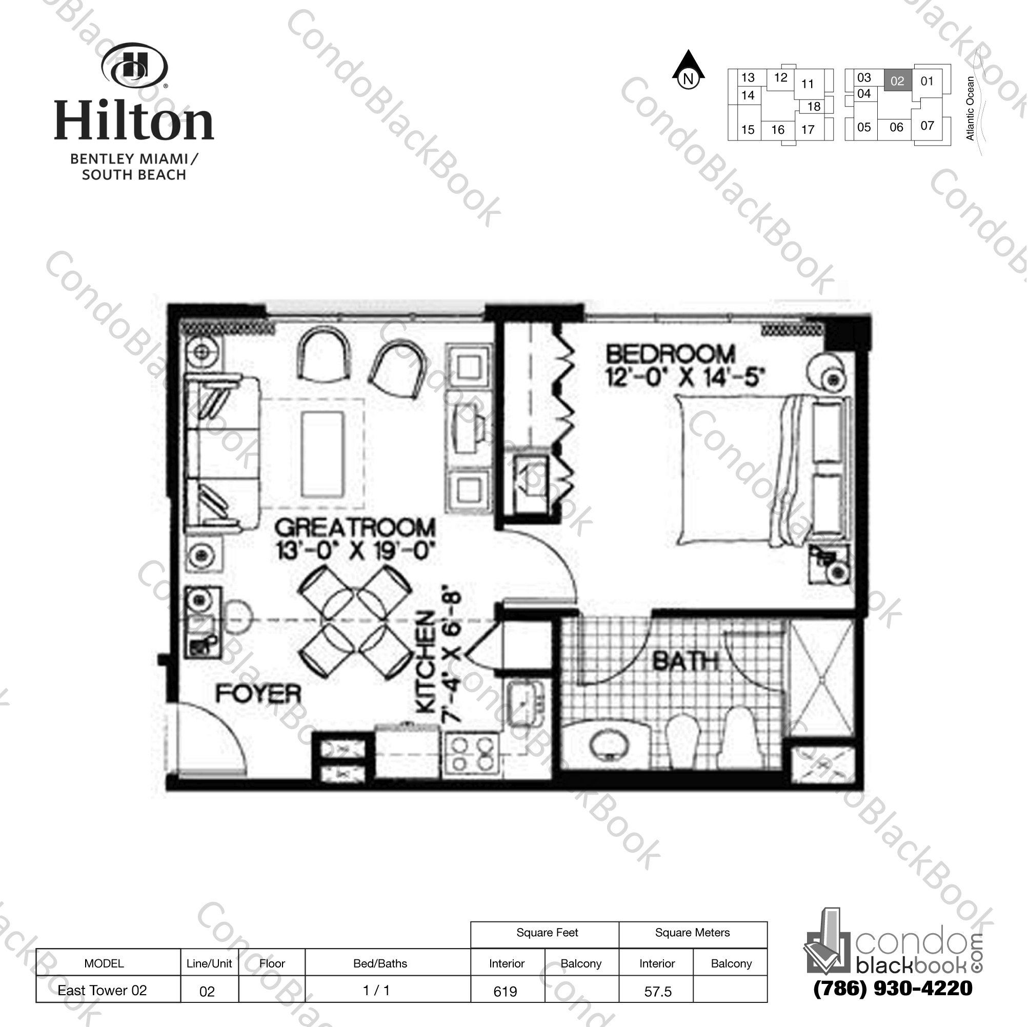 Floor plan for Bentley Beach Hilton South Beach Miami Beach, model East Tower 02, line 02, 1 / 1 bedrooms, 619 sq ft