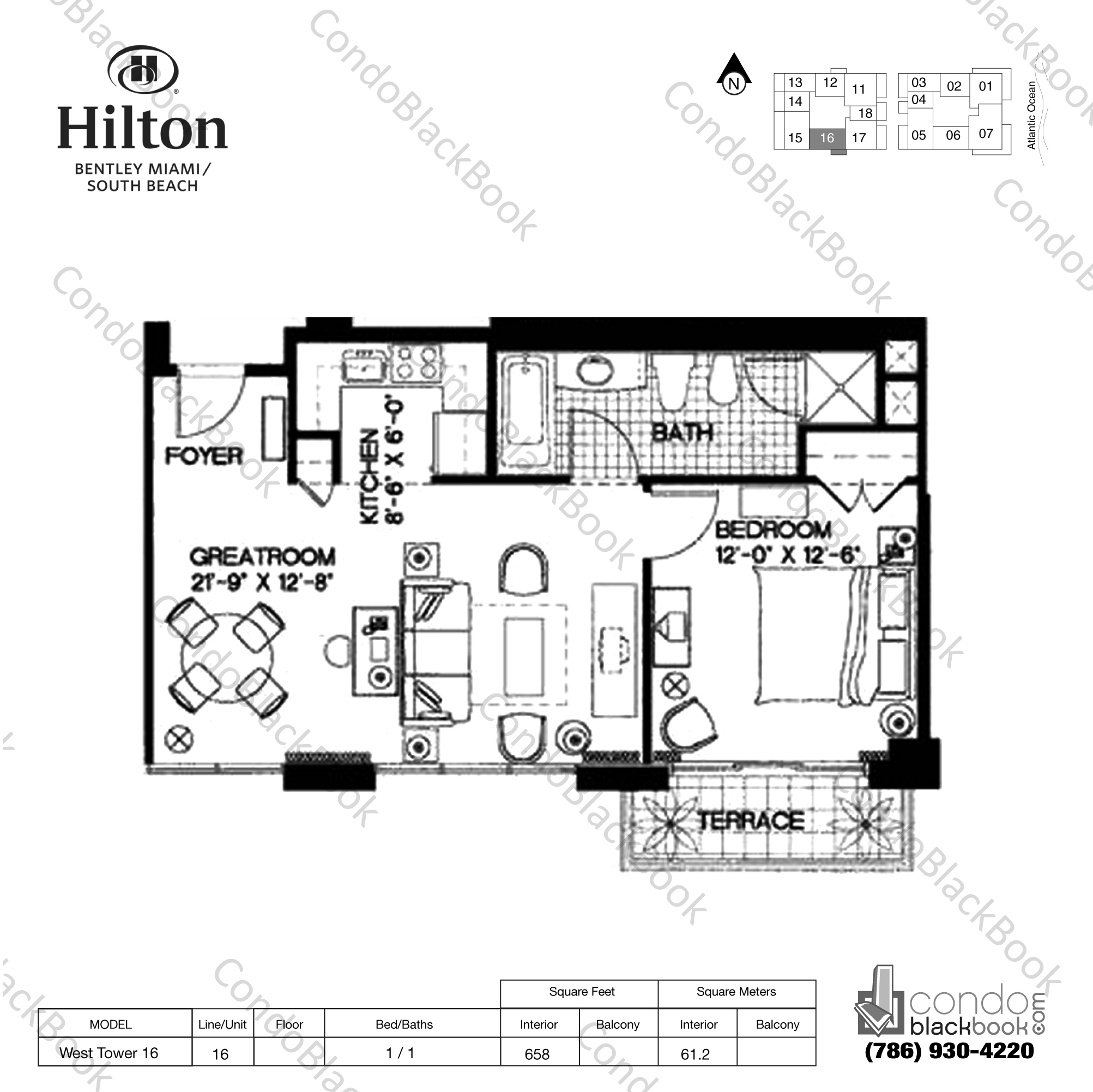 Floor plan for Bentley Beach Hilton South Beach Miami Beach, model West Tower 16, line 16,  1 / 1 bedrooms, 658 sq ft