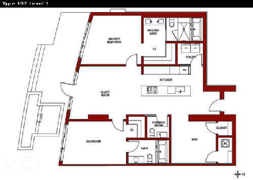 Floor plan for Capri Marina Grande South Beach Miami Beach, model 2, line 2, 3/3 bedrooms, 1380 sq ft