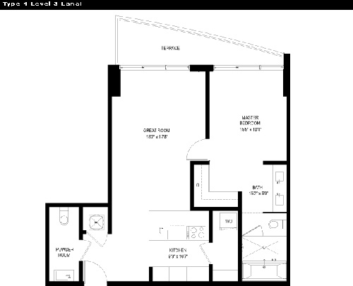 Floor plan for Capri Marina Grande South Beach Miami Beach, model 4, line 4, 1/1.5 bedrooms, 783 sq ft