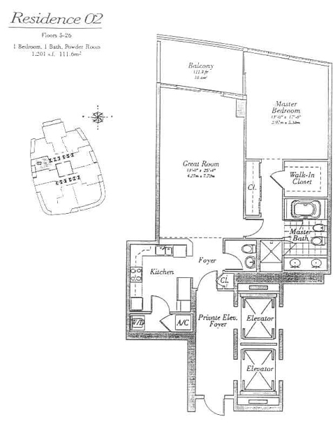 Floor plan for Continuum I South South Beach Miami Beach, model 02, line 02, 1/1.5 bedrooms, 1201 sq ft