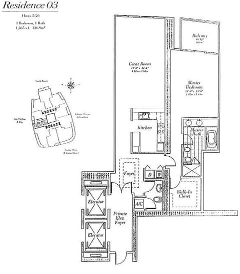 Floor plan for Continuum I South South Beach Miami Beach, model 03, line 03, 1/1.5 bedrooms, 1365 sq ft
