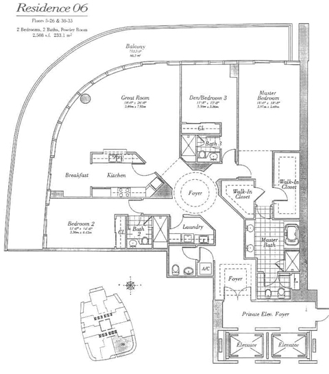 Floor plan for Continuum I South South Beach Miami Beach, model 06, line 06, 3/3.5 bedrooms, 2508 sq ft