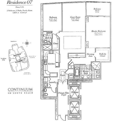 Floor plan for Continuum I South South Beach Miami Beach, model 07, line 07, 2/2.5 bedrooms, 1870 sq ft