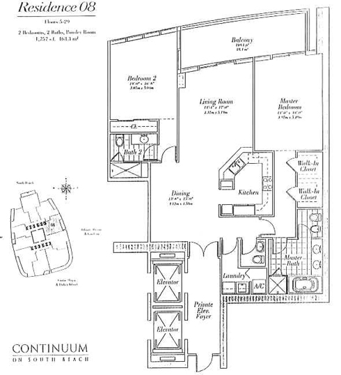 Floor plan for Continuum I South South Beach Miami Beach, model 08, line 08, 2/2.5 bedrooms, 1757 sq ft