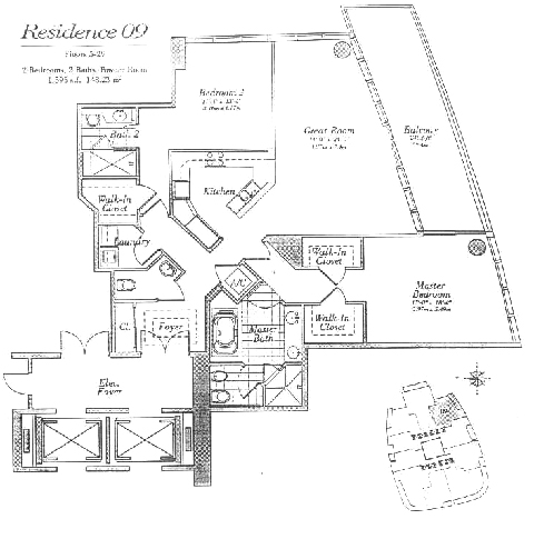 Floor plan for Continuum I South South Beach Miami Beach, model 09, line 09, 2/2.5 bedrooms, 1595 sq ft