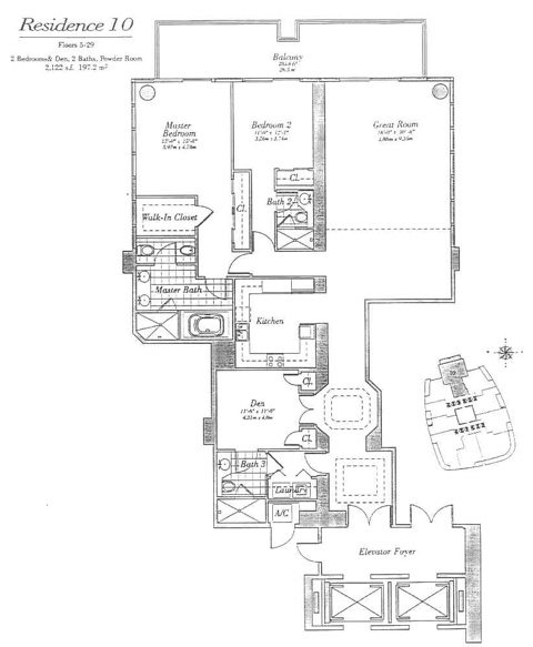 Floor plan for Continuum I South South Beach Miami Beach, model 10, line 10, 3/3 bedrooms, 2122 sq ft