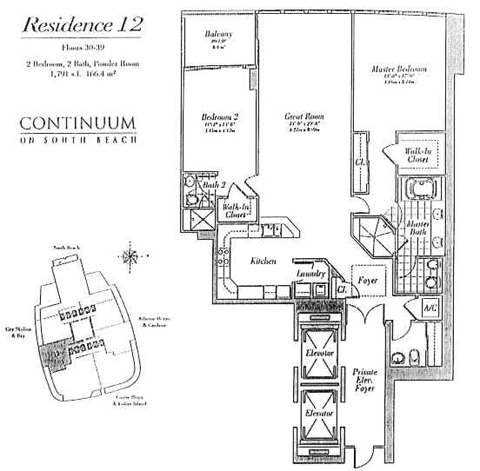 Floor plan for Continuum I South South Beach Miami Beach, model 12, line 02, 2/2.5 bedrooms, 1791 sq ft