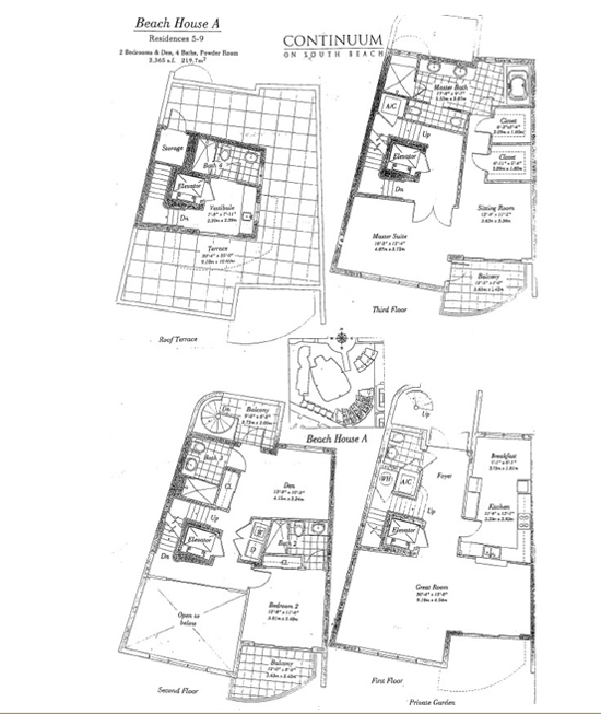 Floor plan for Continuum I South South Beach Miami Beach, model TH_A, line TH5 AND TH9, 2/4.5 bedrooms, 2365 sq ft