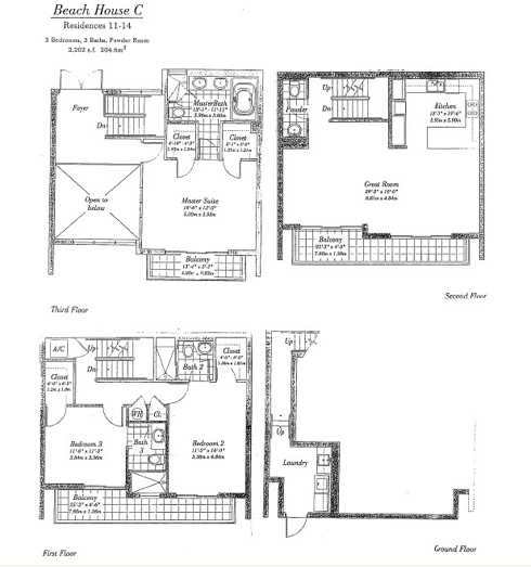 Floor plan for Continuum I South South Beach Miami Beach, model TH_C, line TH11 AND TH14, 3/3.5 bedrooms, 2202 sq ft