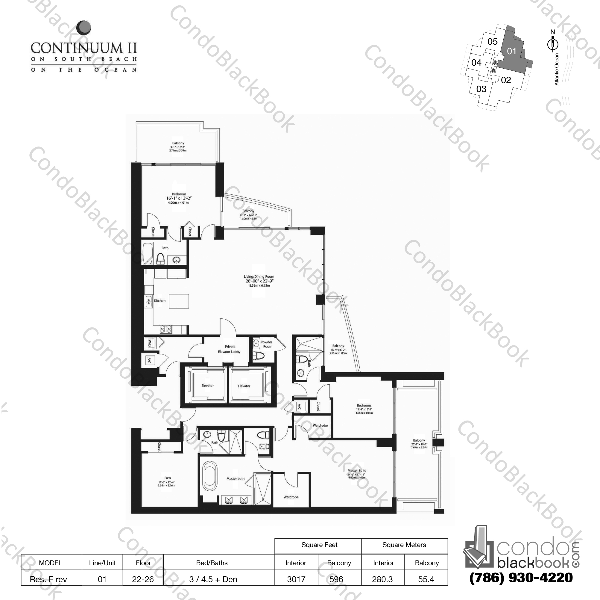 Floor plan for Continuum II North South Beach Miami Beach, model Res. F rev, line 01, 3 / 4.5 + Den bedrooms, 3017 sq ft