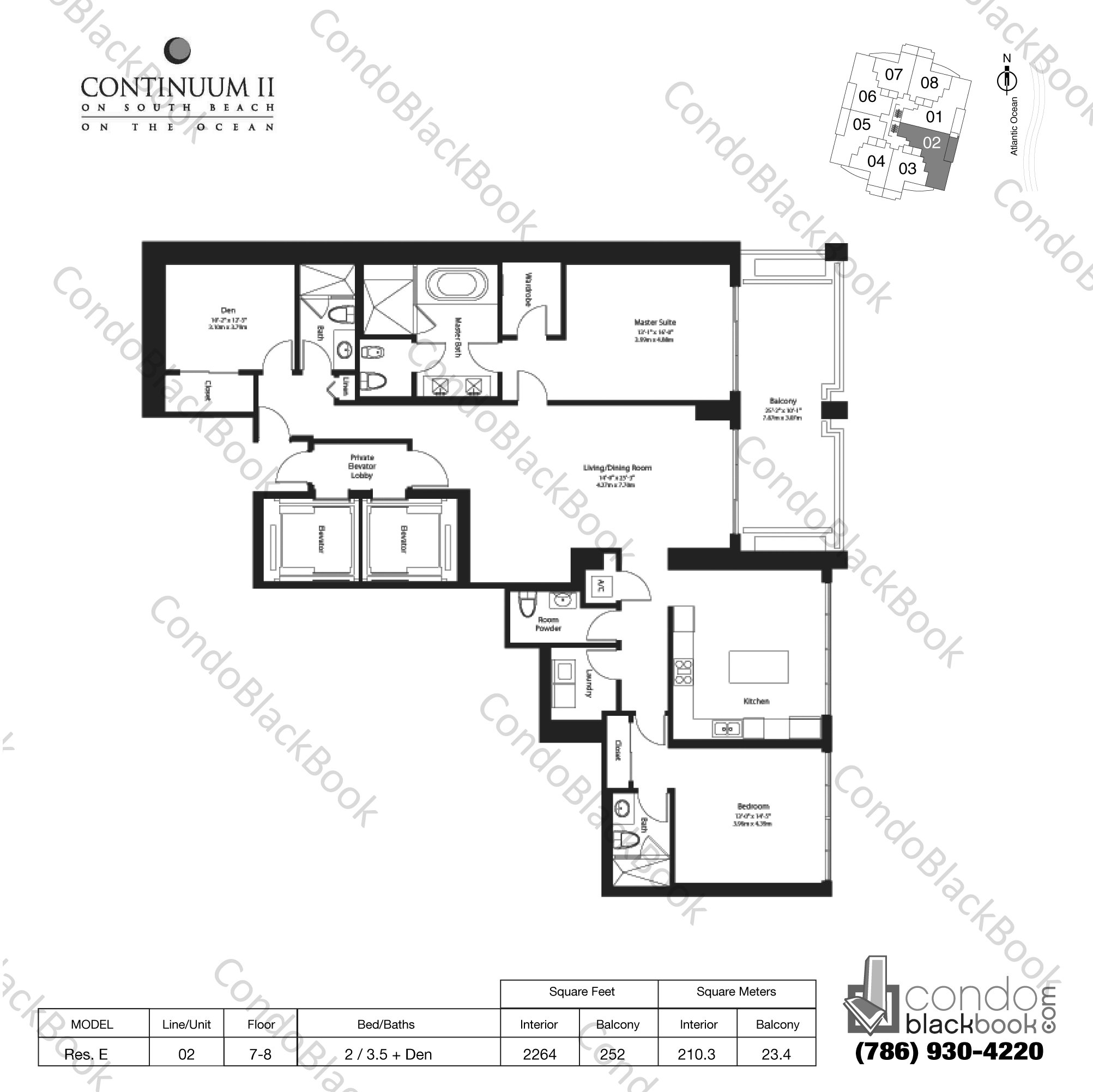 Floor plan for Continuum II North South Beach Miami Beach, model Res. E, line 02, 2 / 3.5 + Den bedrooms, 2264 sq ft