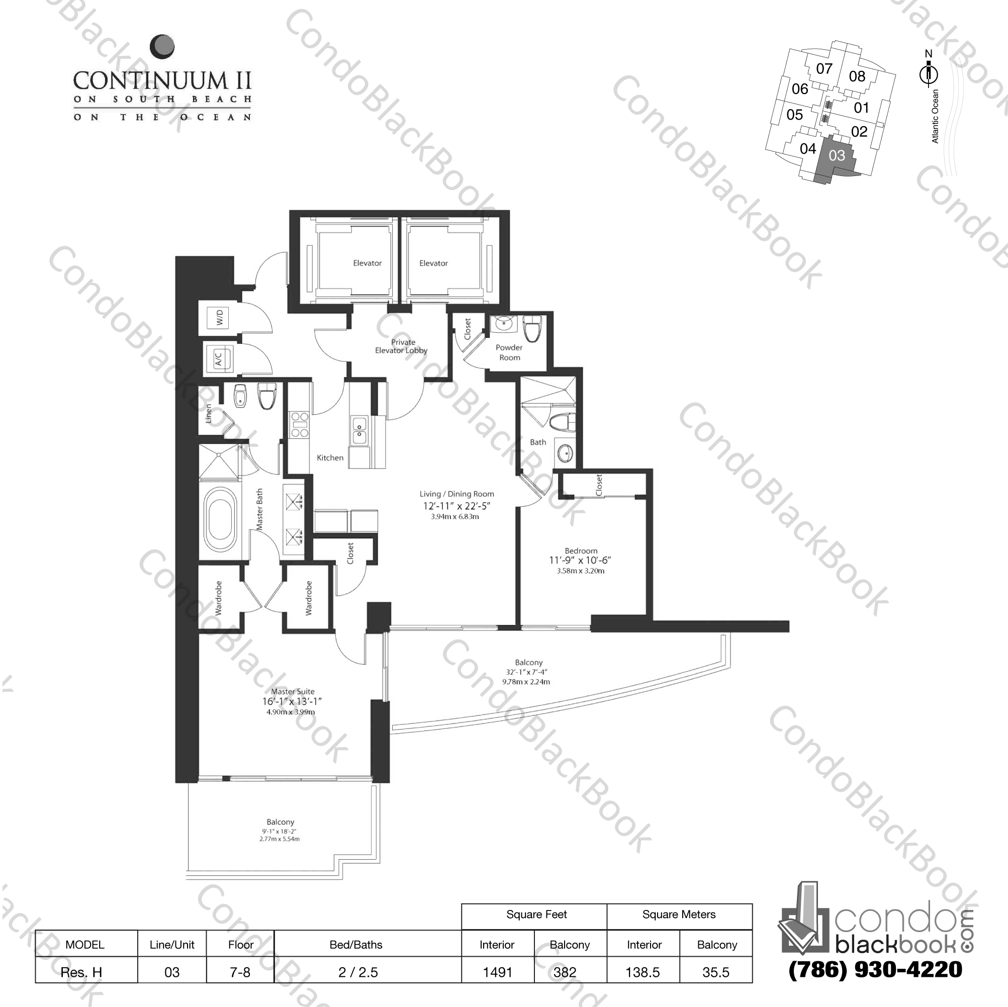 Floor plan for Continuum II North South Beach Miami Beach, model Res. H, line 03, 2 / 2.5 bedrooms, 1491 sq ft
