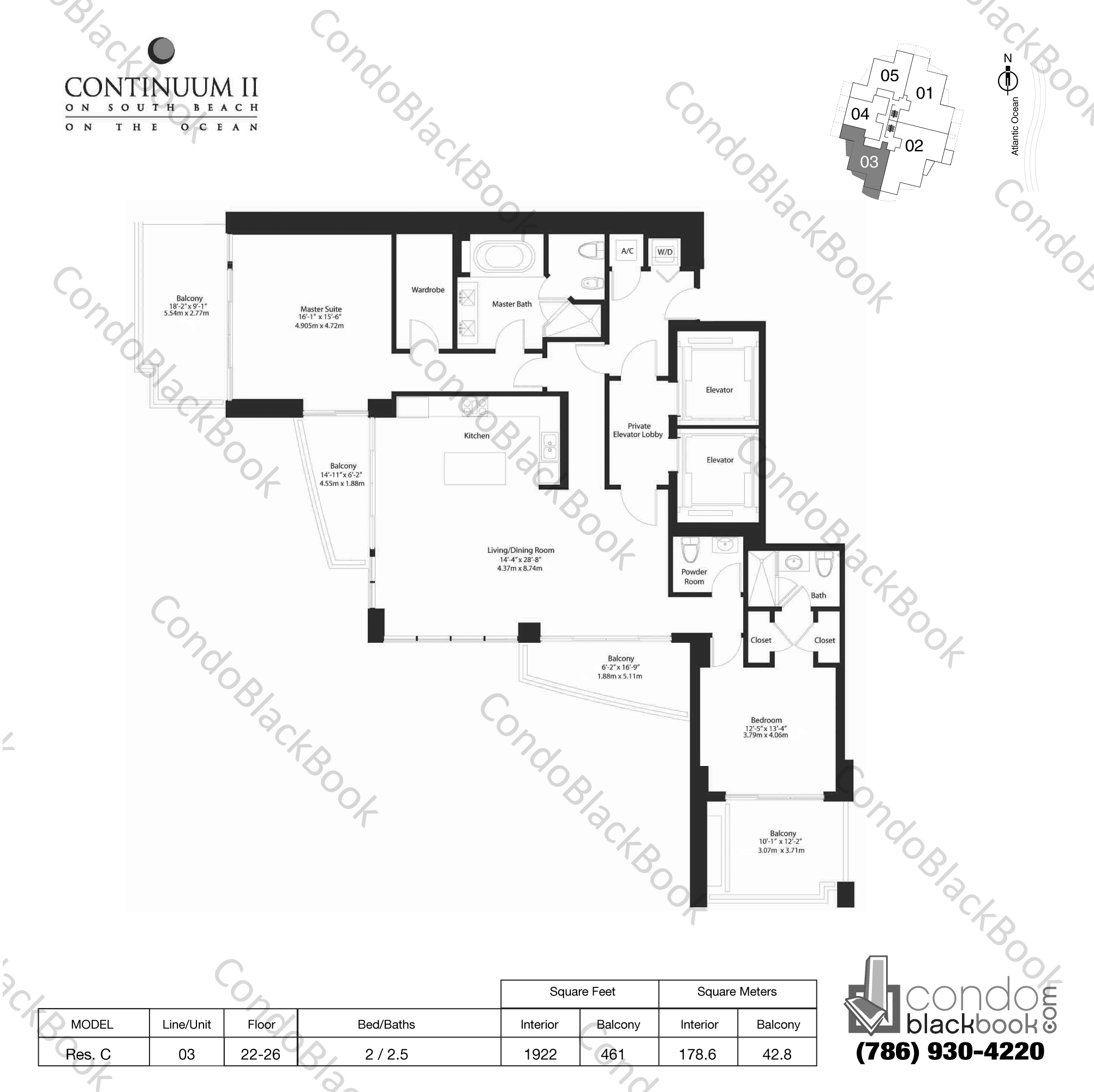 Floor plan for Continuum II North South Beach Miami Beach, model Res. C, line 03, 3 / 2.5 bedrooms, 1922 sq ft