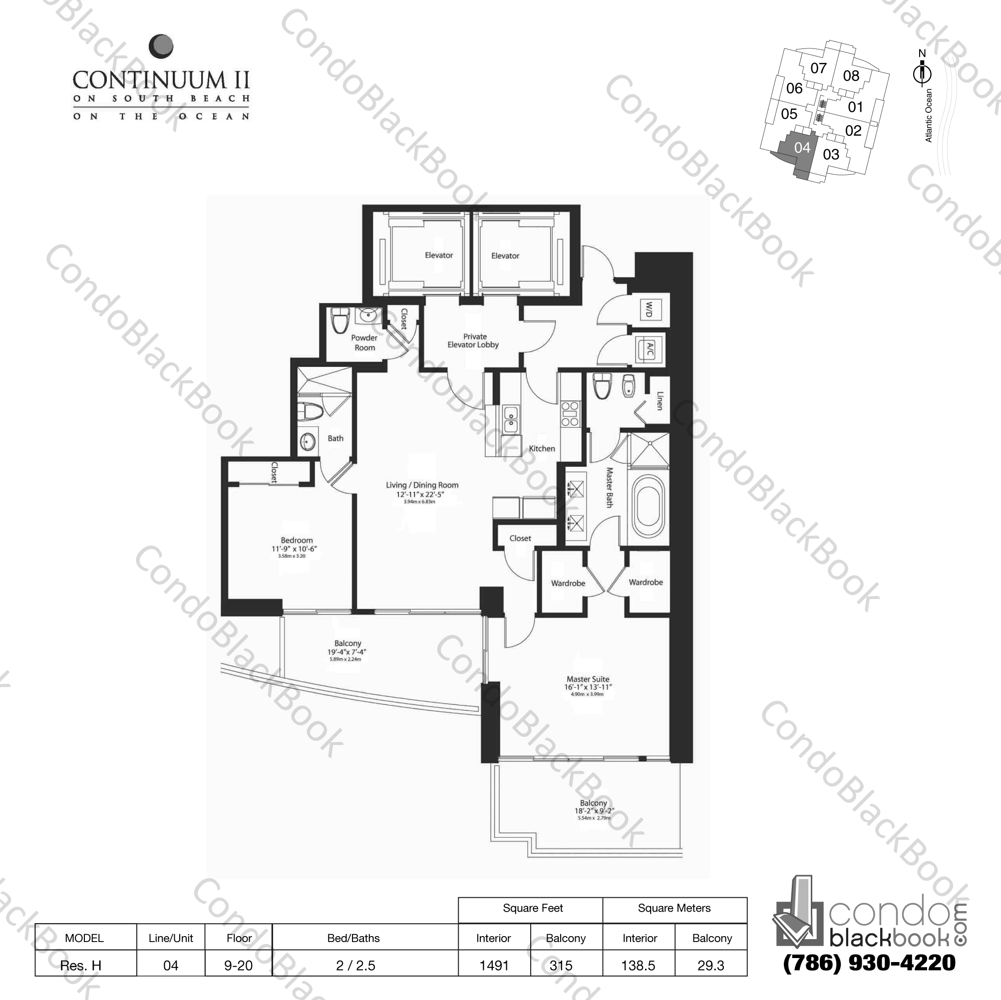 Floor plan for Continuum II North South Beach Miami Beach, model Res. H, line 04, 2 / 2.5 bedrooms, 1491 sq ft