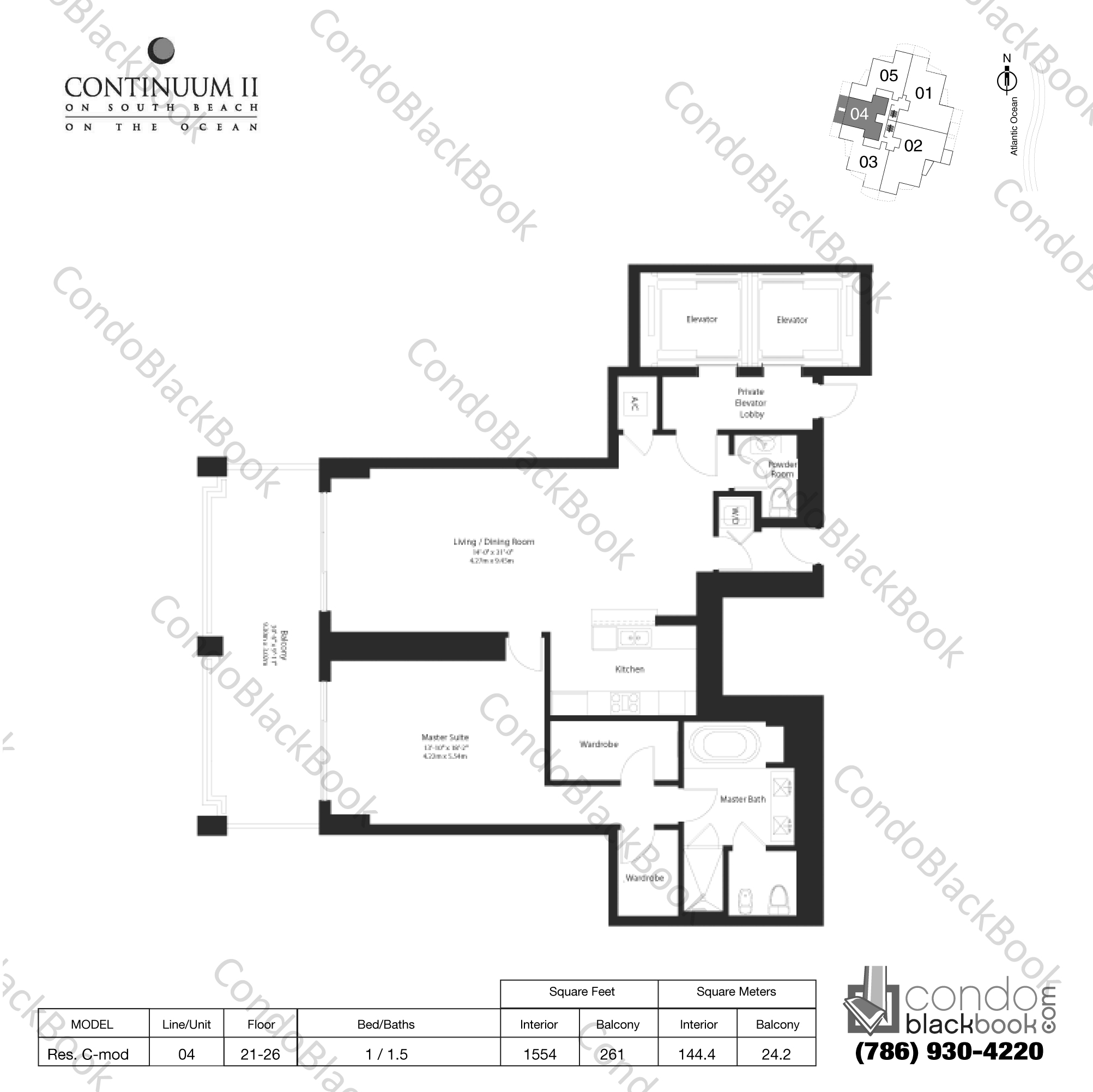 Floor plan for Continuum II North South Beach Miami Beach, model Res. C mod, line 04, 1 / 1.5 bedrooms, 1554 sq ft