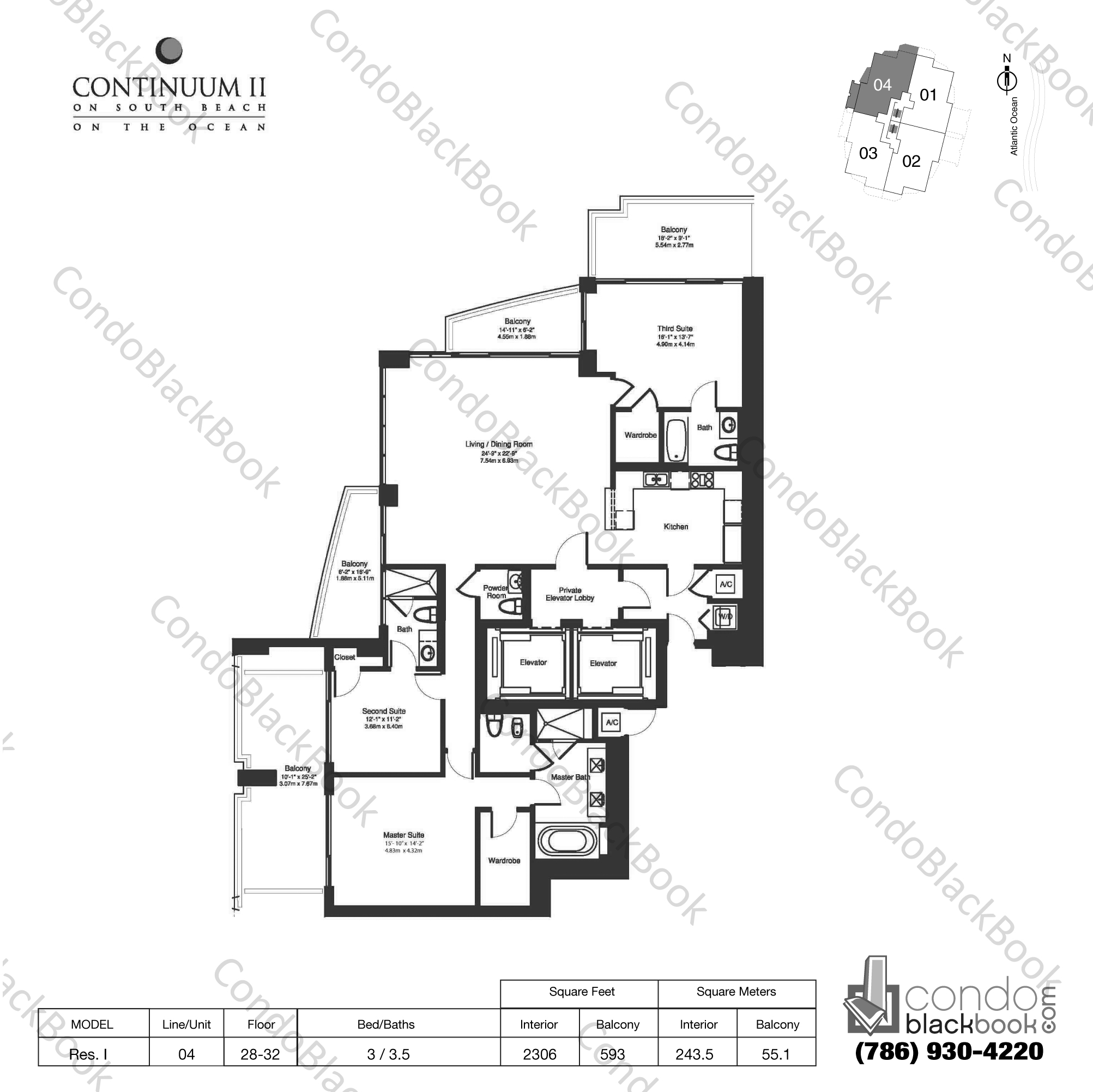 Floor plan for Continuum II North South Beach Miami Beach, model Res. I, line 04, 3 / 3.5 bedrooms, 2306 sq ft
