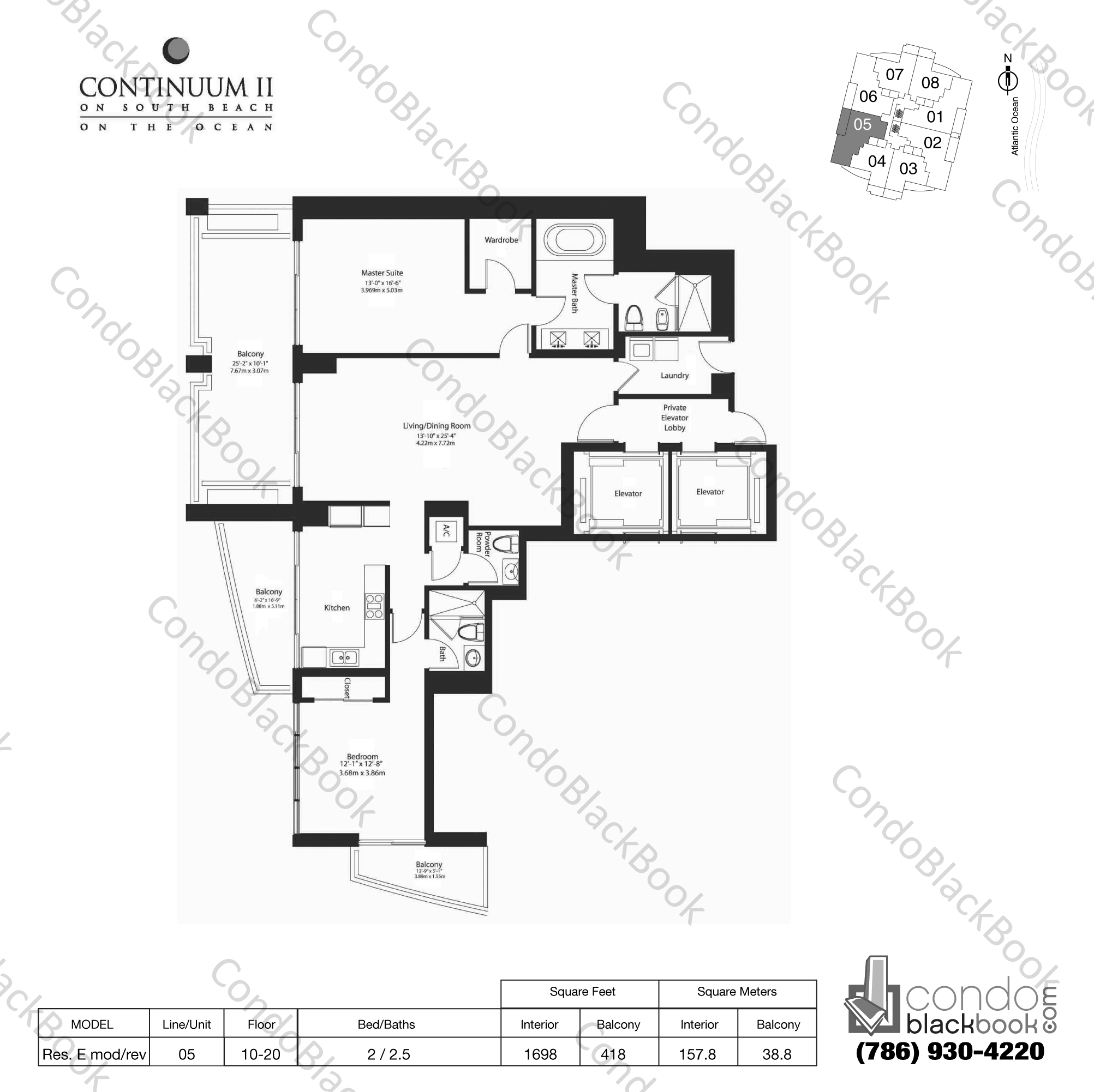 Floor plan for Continuum II North South Beach Miami Beach, model Res. E mod/rev, line 05, 2 / 2.5 bedrooms, 1698 sq ft