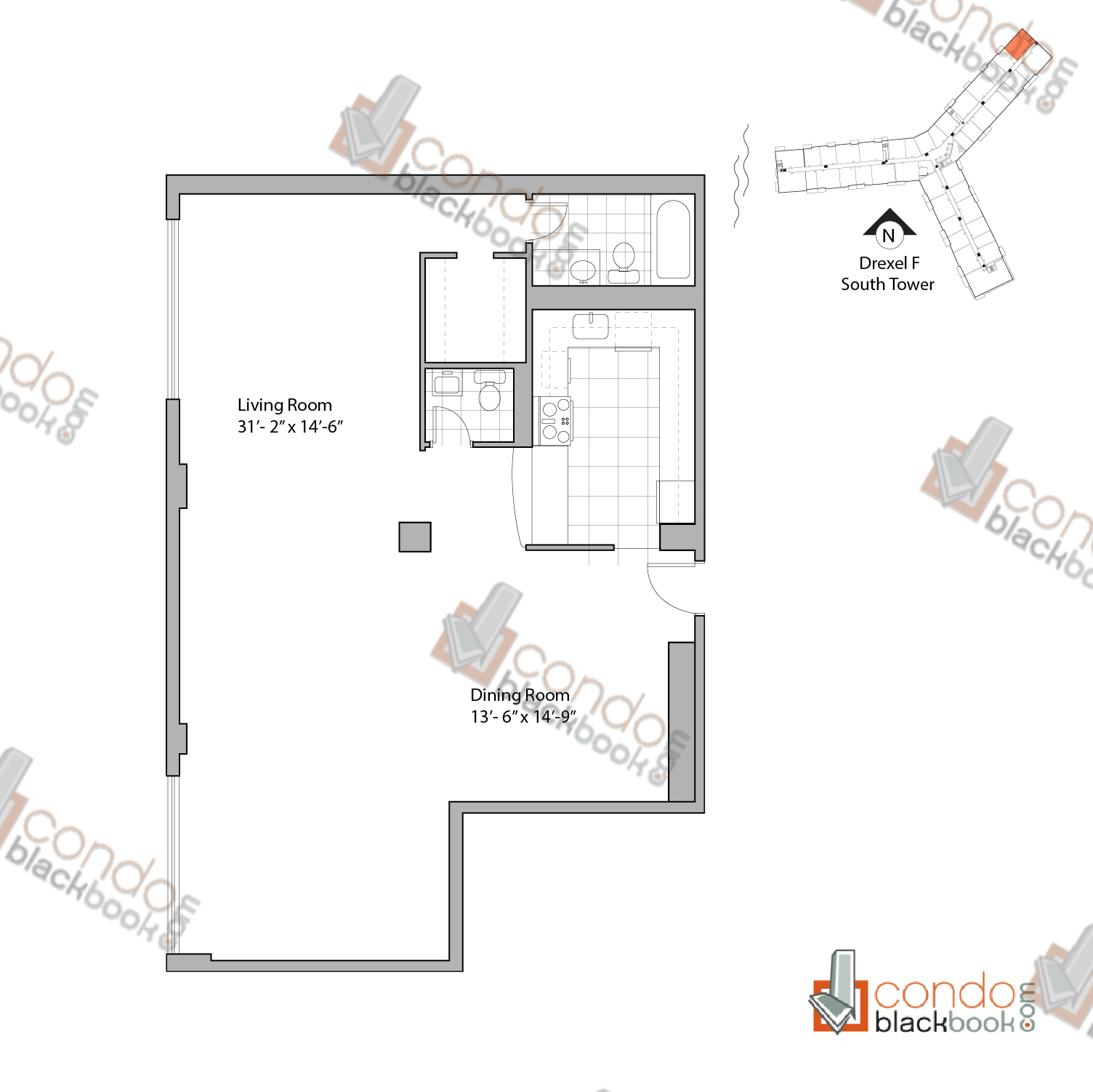 Flamingo south tower floor plan for House plans under 200 000